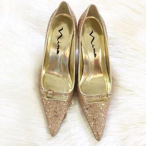 Nina Gold & Glitter Pointy Toe Kitten Heels